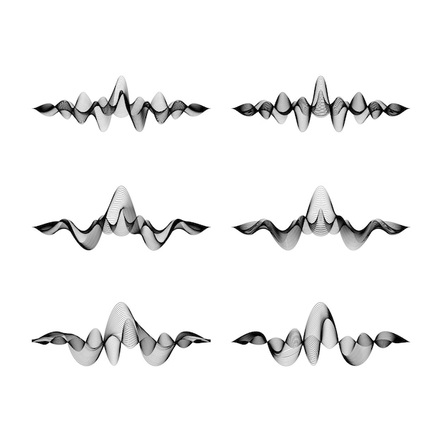 Conjunto de formas de onda em fundo branco, ilustração Vetor Premium