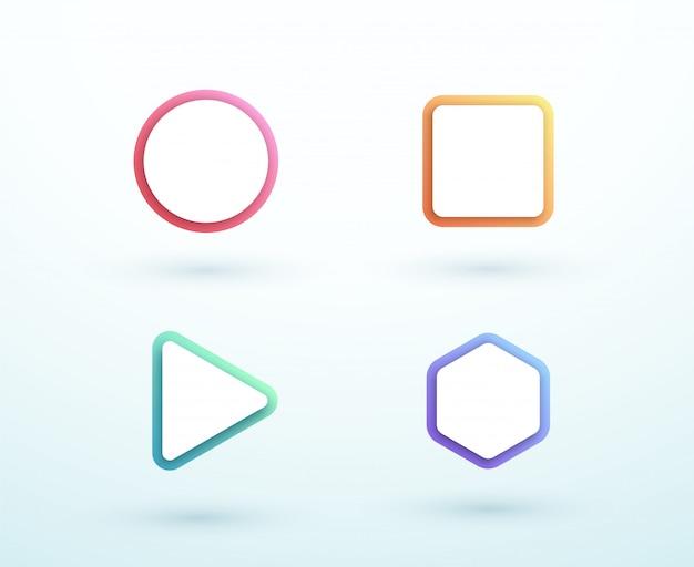 Conjunto de formas diferentes de caixa de texto colorido de vetor 3d Vetor Premium