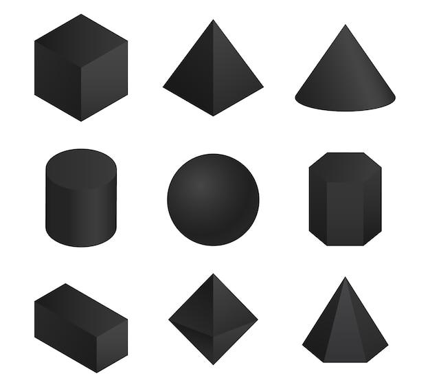 Conjunto de formas geométricas 3d Vetor Premium