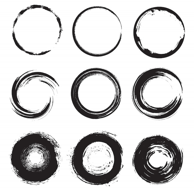 Conjunto de formas redondas de grunge Vetor Premium