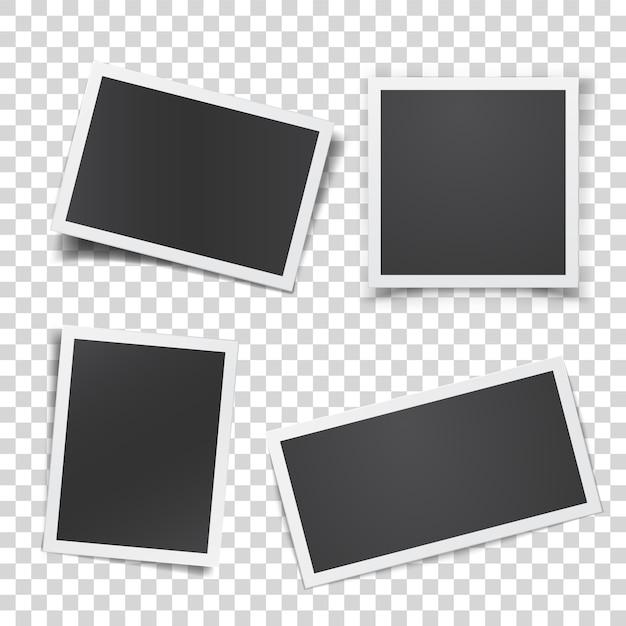 Conjunto de fotografia retrô isolado Vetor Premium