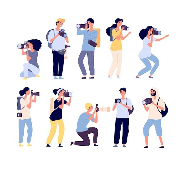Conjunto de fotógrafos de desenhos animados Vetor Premium