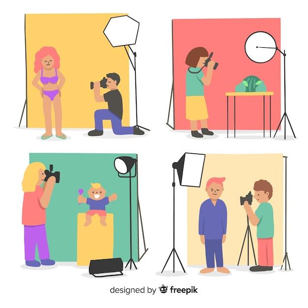 Conjunto de fotógrafos trabalhando ilustrado Vetor grátis