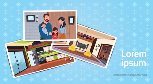 Conjunto de fotos da família jovem em nova casa na sala e cozinha comprando o conceito de casa Vetor Premium