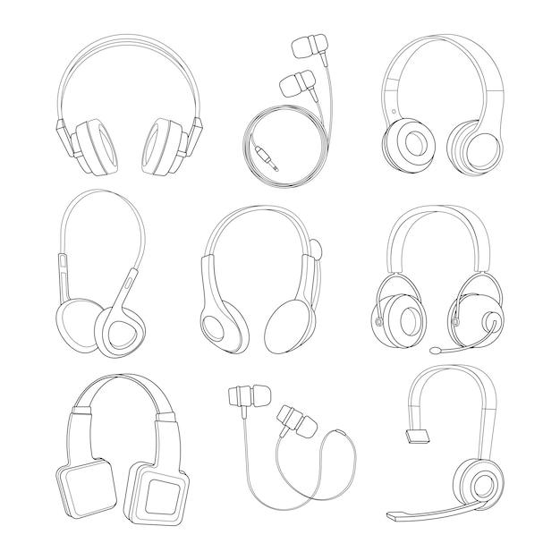 Conjunto de fotos de linha mono de vetor de fones de ouvido Vetor Premium