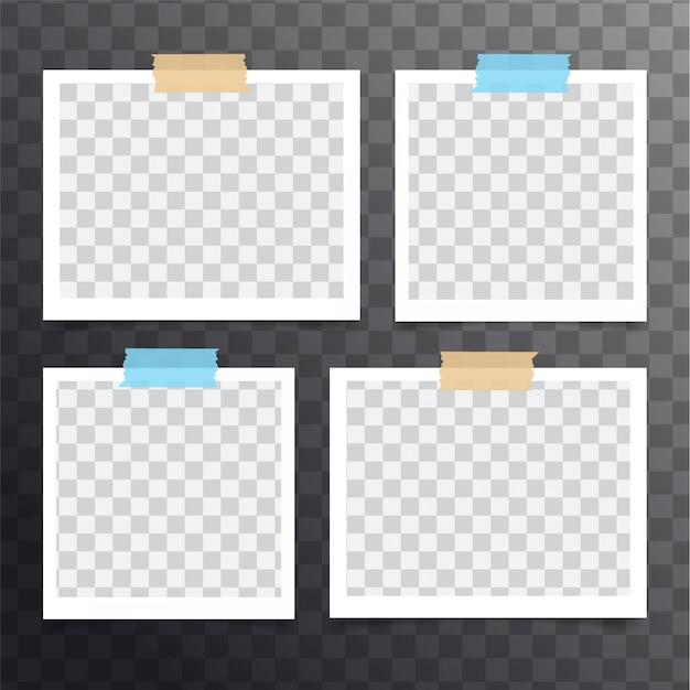Conjunto de fotos polaroid instantâneas em branco realista isolado Vetor Premium