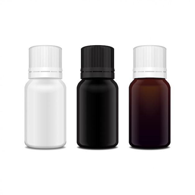 Conjunto de frasco de vidro branco, marrom e preto de óleo essencial realista. frasco cosmético ou frasco médico, balão, ilustração de flacon Vetor Premium