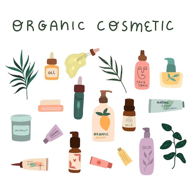 Conjunto de frascos coloridos de cosméticos orgânicos, jarra e tubos. Vetor Premium