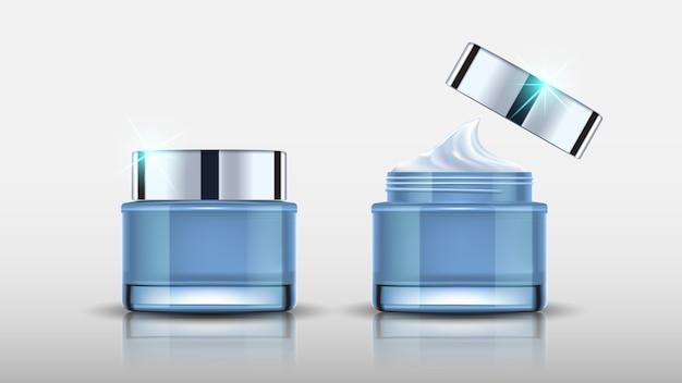 Conjunto de frascos cosméticos azuis mock up e creme de embalagem Vetor Premium