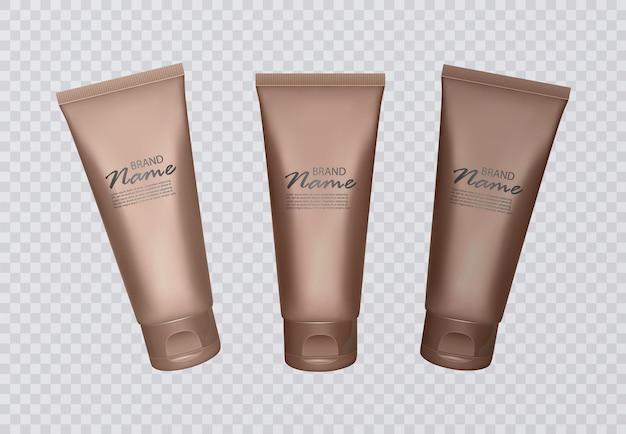 Conjunto de frascos de concentrado autobronzeador. vários tons de queimadura de sol, pele bronzeada. Vetor Premium