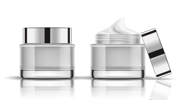 Conjunto de frascos de cosméticos brancos embalagem mock up Vetor Premium