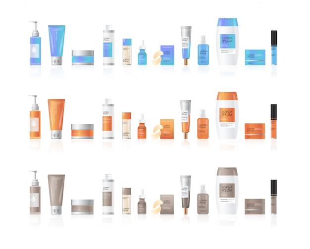 Conjunto de frascos de cosméticos ou perfumes produtos de spa de beleza embalagens de skincare de cosméticos naturais marca o conceito de tratamento de pele coleção realista de pacotes Vetor Premium