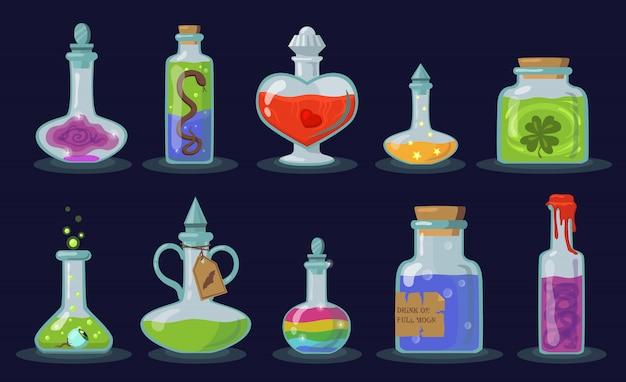 Conjunto de frascos de elixir Vetor grátis