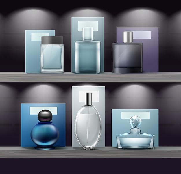 Conjunto de frascos de vidro de perfume na prateleira da loja. isolado, vista frontal Vetor Premium