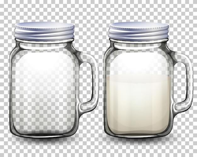 Conjunto de frascos de vidro Vetor grátis