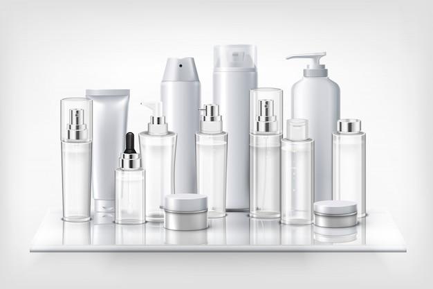 Conjunto de frascos e frascos de garrafas de plástico de cosméticos na ilustração realista de prateleira de vidro Vetor grátis