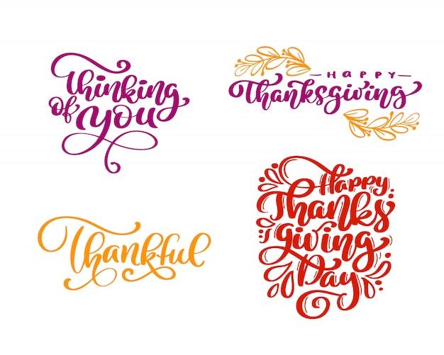 Conjunto de frases de caligrafia feliz dia de ação de graças Vetor Premium