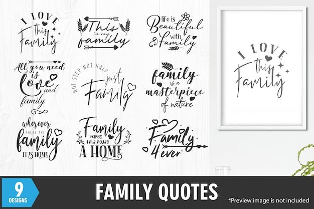 Conjunto de frases de citações de família Vetor Premium