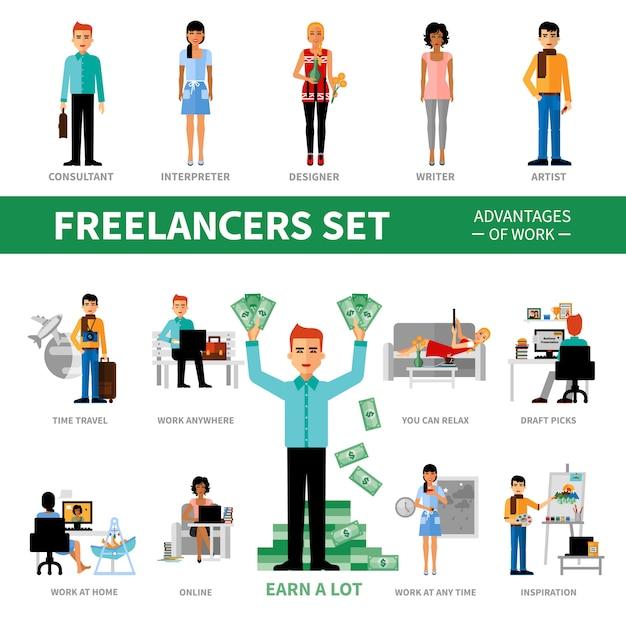 Conjunto de freelancers com vantagens do trabalho Vetor grátis