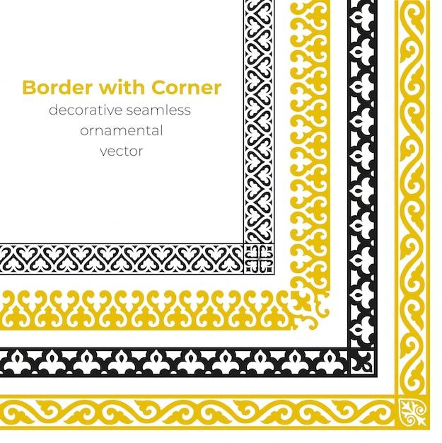 Conjunto de fronteira ornamental sem costura decorativa com canto Vetor Premium