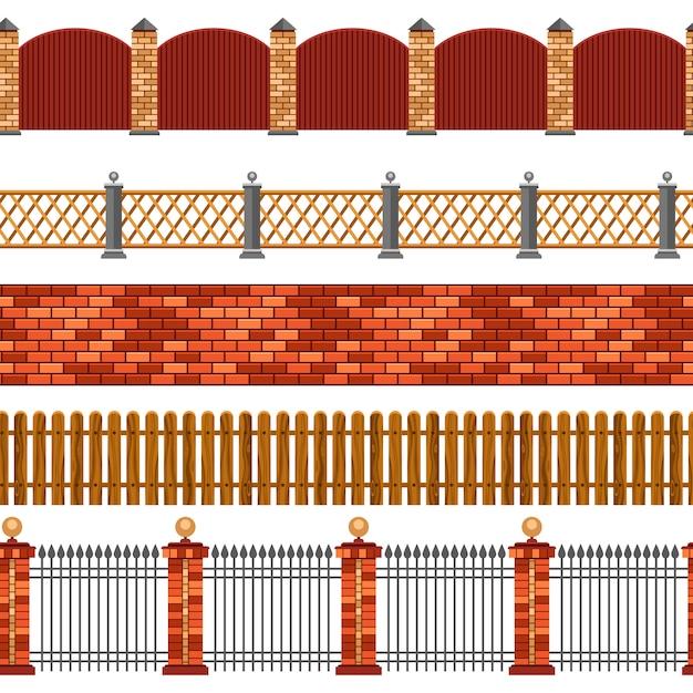 Conjunto de fronteira sem emenda de cerca Vetor grátis