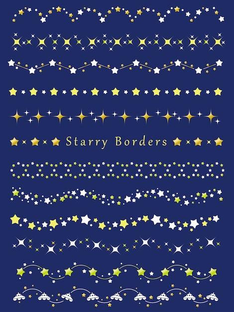Conjunto de fronteiras sortidas com vários padrões de estrelas Vetor Premium