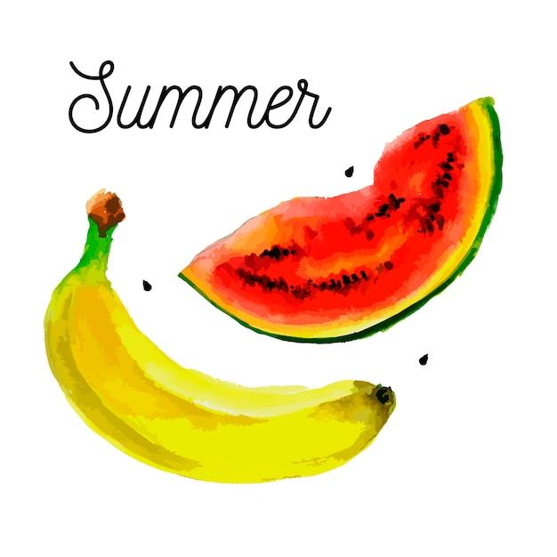 Conjunto de frutas - desenho de aquarela de bananas de melancia Vetor Premium