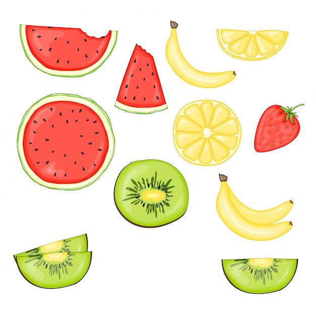 Conjunto de frutas e bagas: kiwi, banana, melancia e morango Vetor Premium