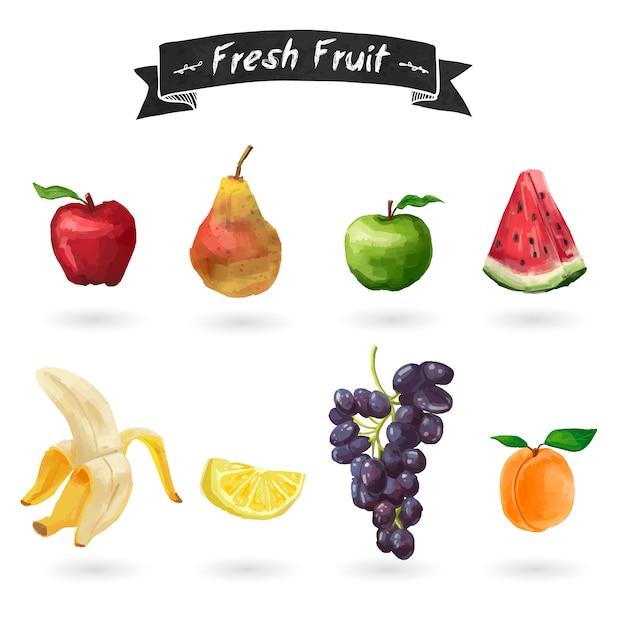 Conjunto de frutas em estilo aquarela. isolado. Vetor Premium