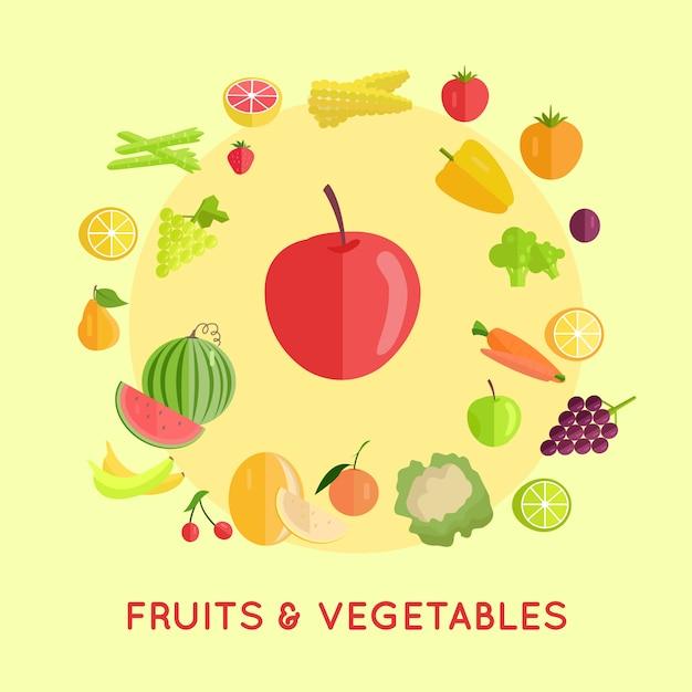 Conjunto de frutas legumes Vetor Premium