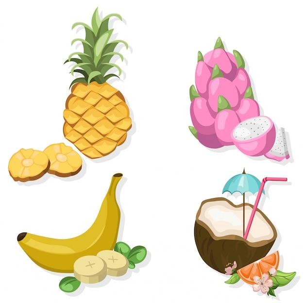 Conjunto de frutas tropic Vetor Premium