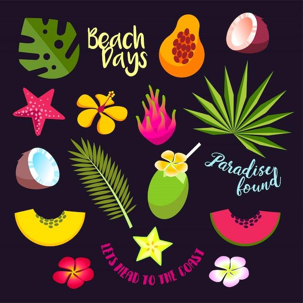 Conjunto de frutas tropicais de verão, cocktails e folhas Vetor Premium