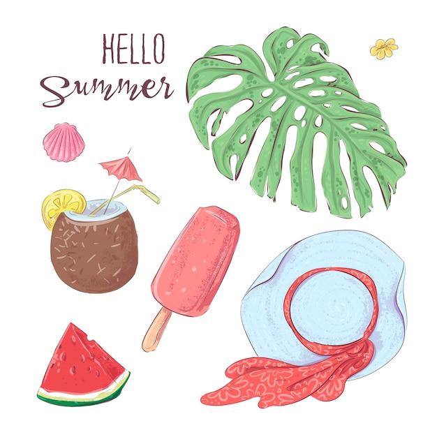 Conjunto de frutas tropicais e chapéu. vetorial, ilustração, mão, desenho Vetor Premium