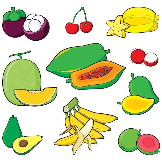 Conjunto de frutas Vetor Premium