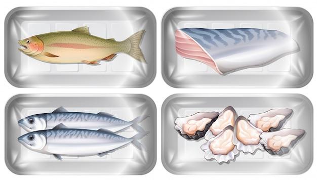Conjunto de frutos do mar em embalagens Vetor grátis
