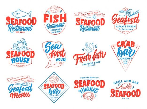 Conjunto de frutos do mar vintage emblemas e selos. crachás coloridos, modelos, adesivos isolados Vetor Premium