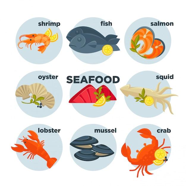 Conjunto de frutos do mar Vetor Premium