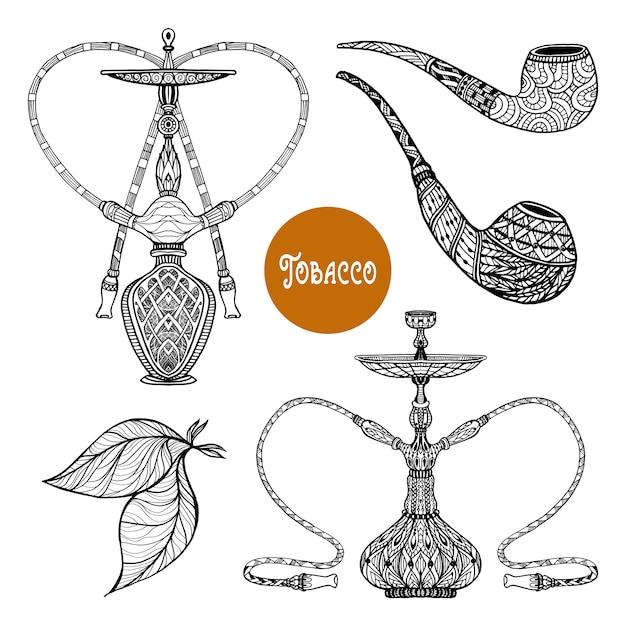 Conjunto de fumo de doodle Vetor grátis