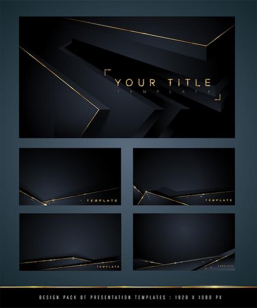 Conjunto de fundo abstrato escuro Vetor Premium