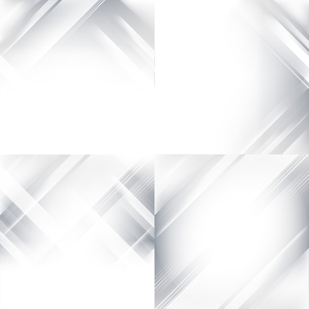 Conjunto de fundo abstrato gradiente cinza e branco Vetor grátis