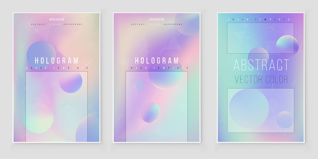 Conjunto de fundo abstrato iridescente holográfico tendências de estilo moderno 80s 90s Vetor Premium