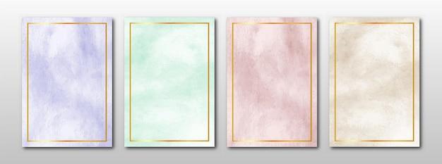 Conjunto de fundo aquarela abstrato criativo minimalista pintado à mão Vetor Premium
