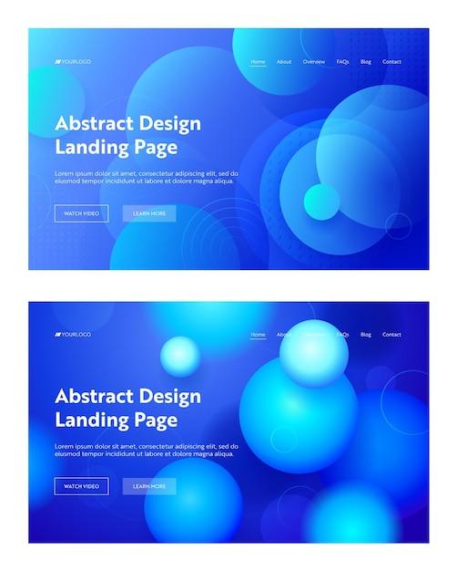 Conjunto de fundo da página de destino da forma abstrata do círculo azul. Vetor Premium