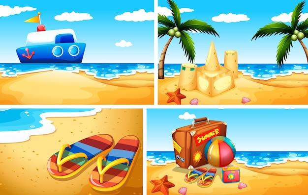 Conjunto de fundo de praia de areia Vetor grátis