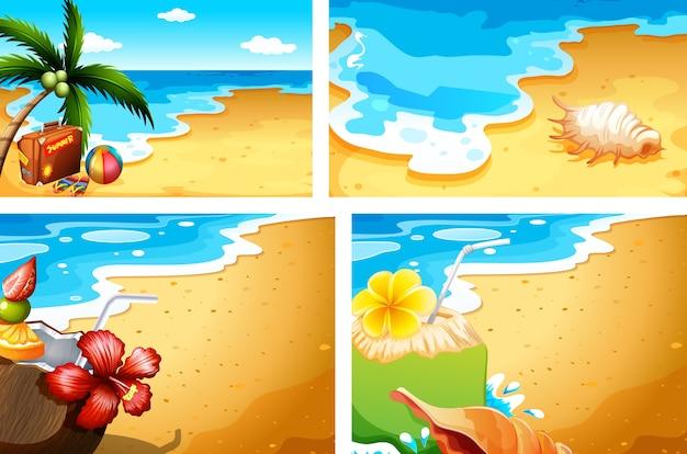 Conjunto de fundo de praia de verão Vetor Premium