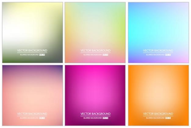 Conjunto de fundo desfocado multicolorido. Vetor Premium