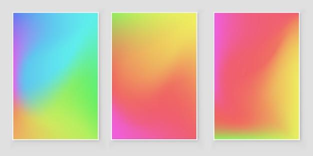 Conjunto de fundo gradiente de malha de cor suave. desenho abstrato vector. Vetor Premium