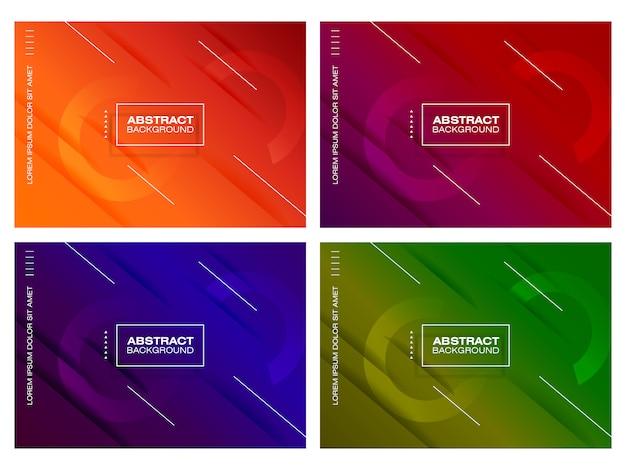 Conjunto de fundo moderno gradiente Vetor Premium