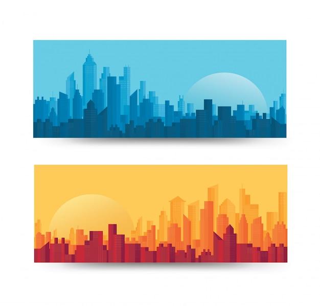 Conjunto de fundo moderno skyline da cidade Vetor Premium