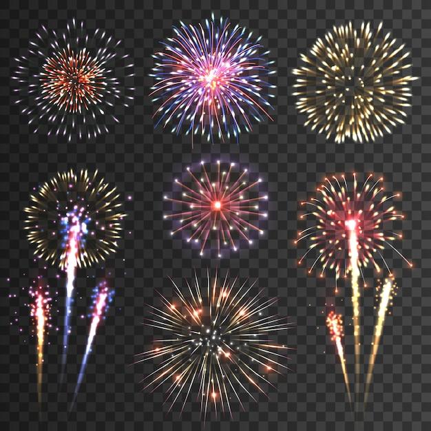Conjunto de fundo preto de pictogramas de fogo de artifício Vetor grátis